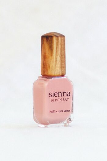 light Pink Nail Polish glass Bottle with timber cap by sienna