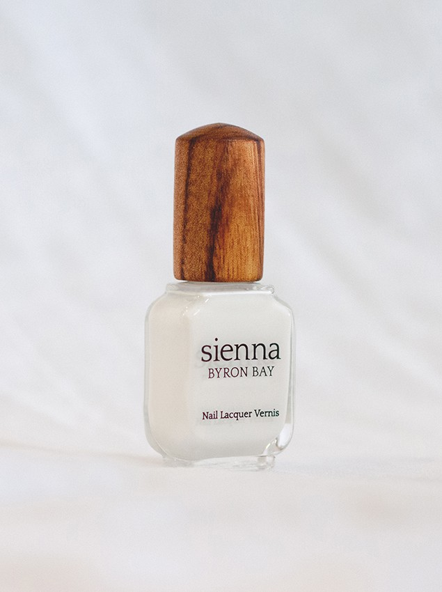 white nail polish glass bottle with timber cap by sienna