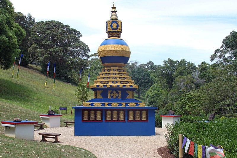 the world peace stupa at crystal castle byron bay