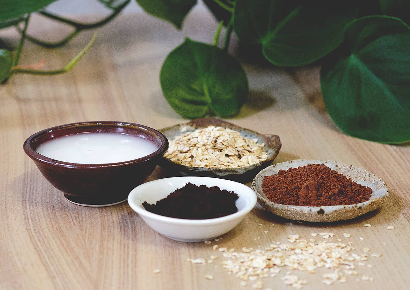 Ingredients to make a Cacao Brightener Vegan Face Mask by Sienna