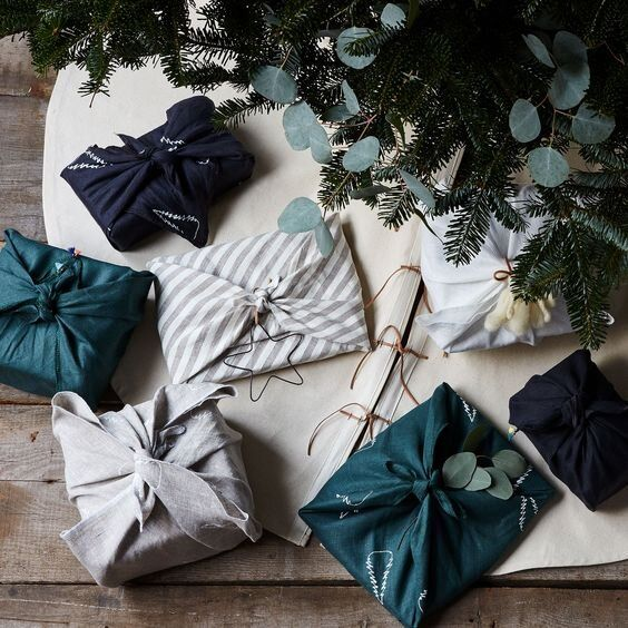 eco-friendly Christmas gift Wrapping with grey and teal blue fabric