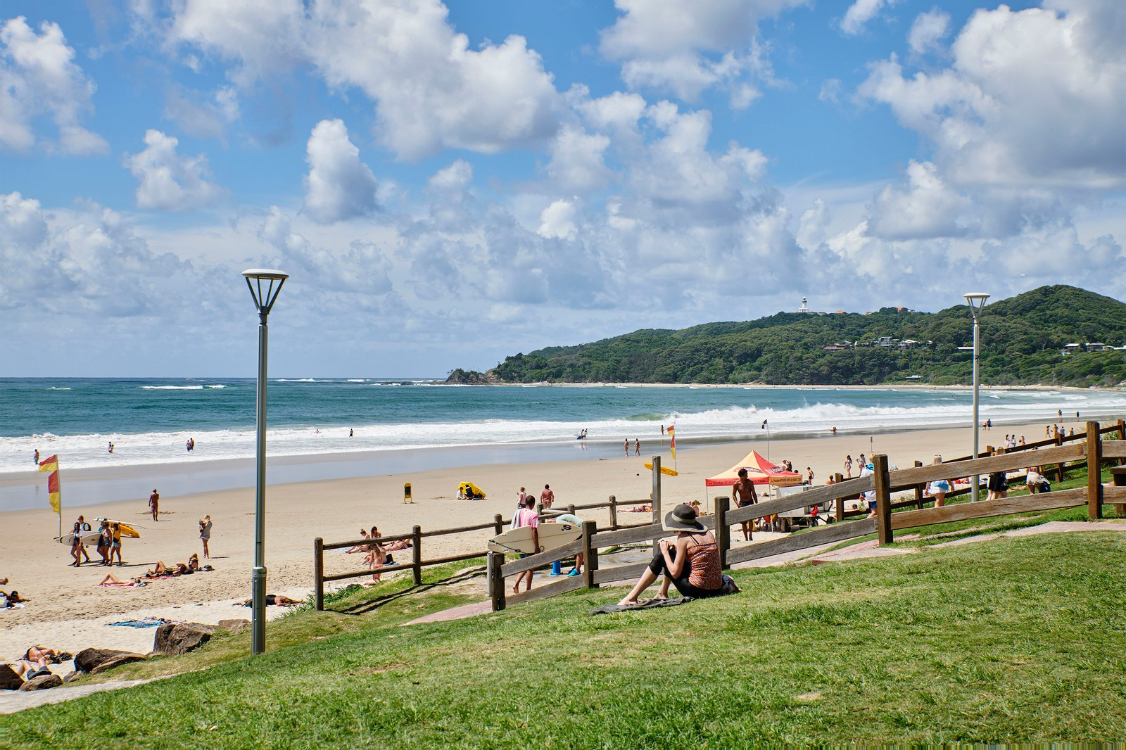 Summer sunny day at Main Beach in Byron Bay
