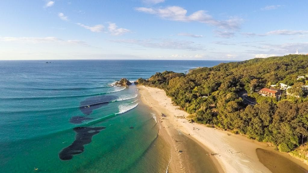 drone view of The Pass beach in Byron Bay