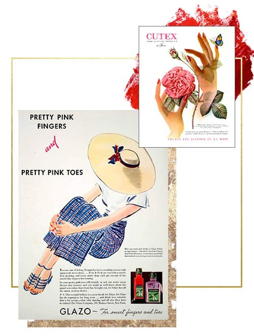 collage of posters for nail polish publicity