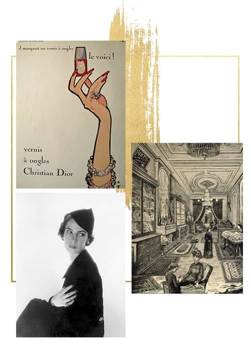 collage of images of first nail salon in New York, her owner Mary Cobb and first Christian Dior nail polish poster.
