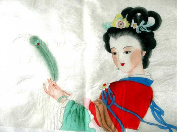 drawing of a chinese geisha