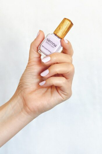 light purple nail polish hand swatch on fair skin tone by sienna