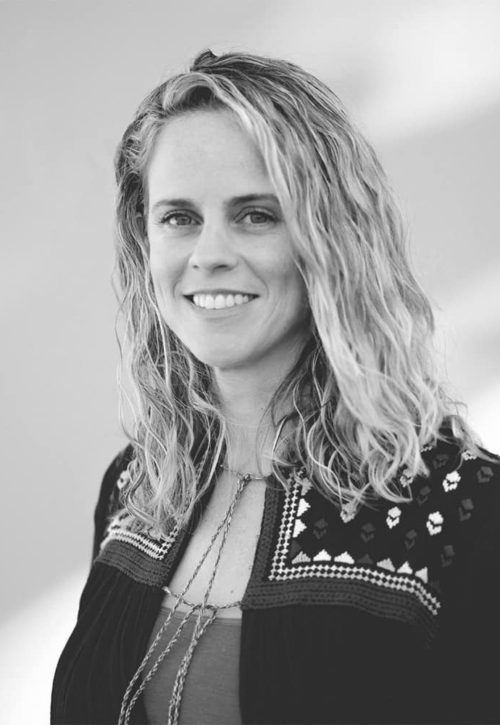 portrait of Danielle owner of sienna in black and white