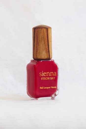 apple Red Nail Polish glass bottle with timber cap by sienna