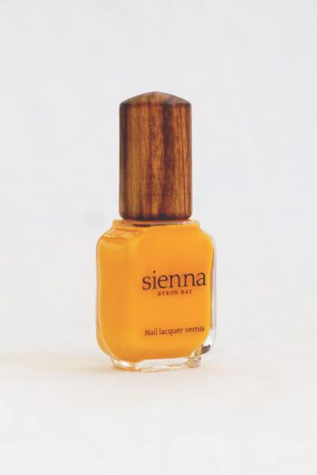 Sunflower Yellow Nail Polish glass bottle with timber cap by Sienna