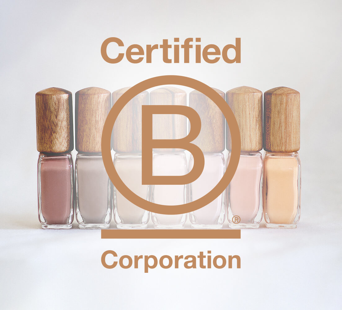 sienna bcorp certification logo in brown with nail polish glass bottle with timber cap